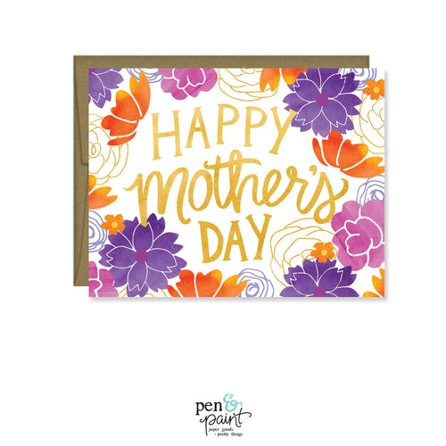 Happy Mother's Day orange and purple watercolor flowers MF836