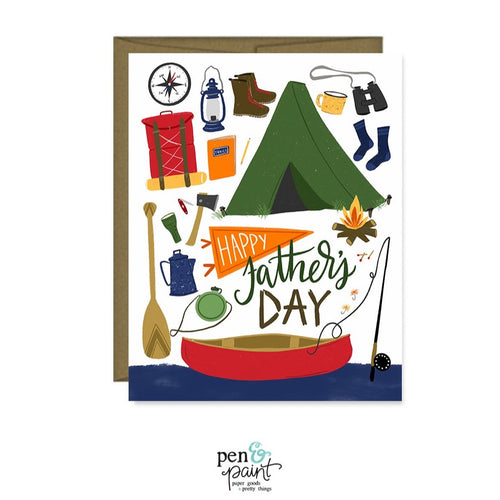 Happy Father's Day - outdoors, camping, hiking, fishing, adventure card