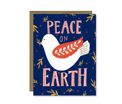 Peace on Earth Christmas Holiday card - dark blue with dove