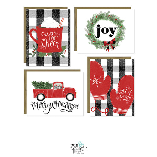 Merry Christmas Plaid set of four Christmas cards