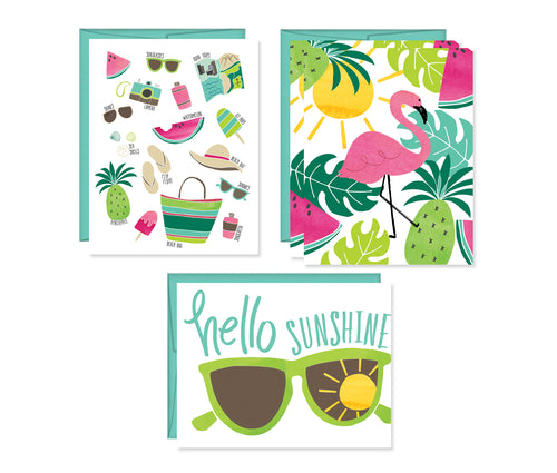 Summer note card set of four