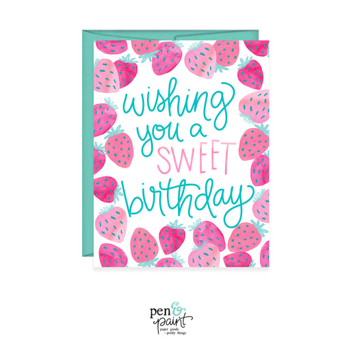 Wishing you a sweet birthday strawberries card