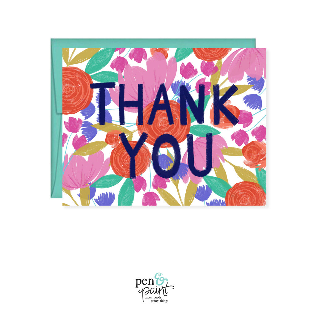 Thank You Painted Floral Card Pen Paint