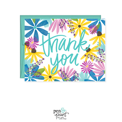 Thank You Wildflower Watercolor Flowers card