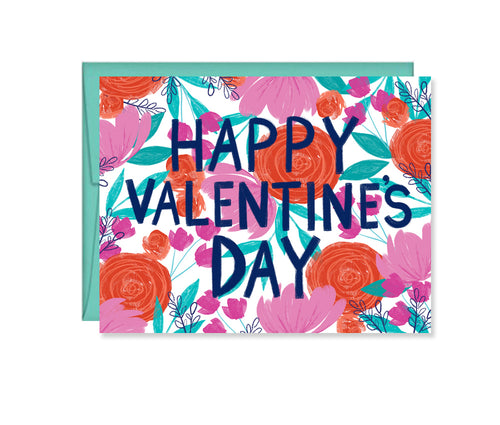 Happy Valentine's Day painted floral card