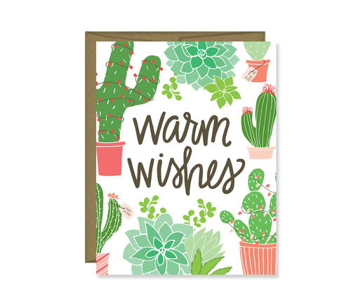Warm Wishes holiday cactus card