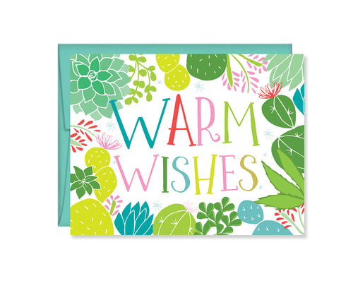 Warm Wishes Greeting Card - colorful cacti