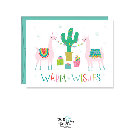 Warm Wishes Llama Card