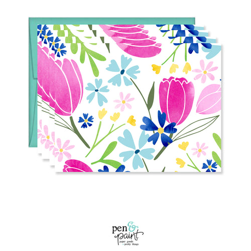 Watercolor Tulips set of four spring note cards