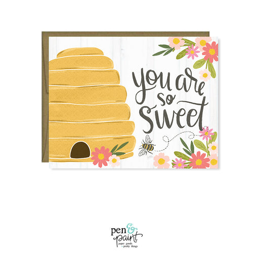 You are sweet, Honey Bee & Beehive card