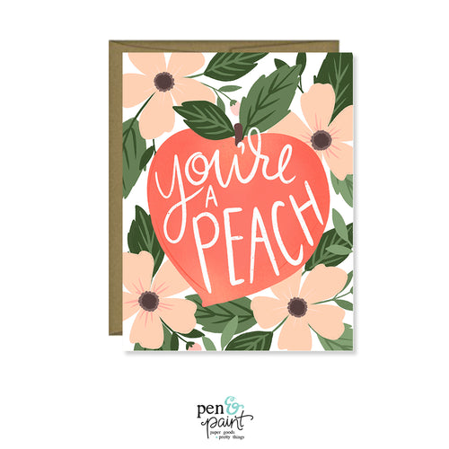 You are a peach, greeting card, thank you card