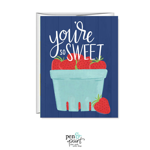 You're so sweet, Strawberries, greeting card, thank you card