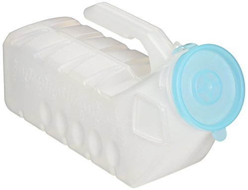BodyHealt Deluxe Male Urinal Incontinence Pee Bottle 32oz./1000ml with Cover (Glow in The Dark Lid, Pack of 1)