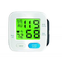 "Load image into Gallery viewer, BodyHealt Wrist Blood Pressure Cuff Monitor - Fully Automatic - Color Changing - 2"" LCD - 90 Memory Capacity for 2 Users -"