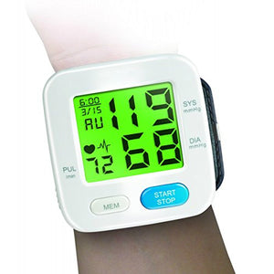 "BodyHealt Wrist Blood Pressure Cuff Monitor - Fully Automatic - Color Changing - 2"" LCD - 90 Memory Capacity for 2 Users -"