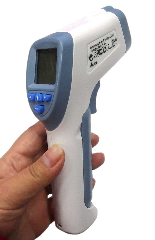 Digital Forehead Inrared Thermometer - No Touch Quick Reading Temperature Gun With LCD Display, Measures all types of Surface In Celsius & Fahrenheit - By BodyHealt