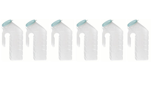 BodyHealt Deluxe Male Urinal Incontinence Pee Bottle 32oz./1000ml with Cover (Glow in The Dark Lid, Pack of 6)