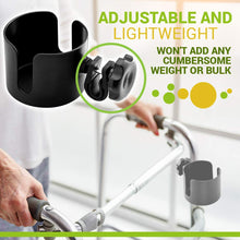 Load image into Gallery viewer, BodyHealt Adjustable Cup Holder - Black - for Any Kind of Strollers, Walkers, Wheelchairs, Rollator & Knee Scooters Universal Drinking Cup Holder, Bottle Holder, No Screws Required