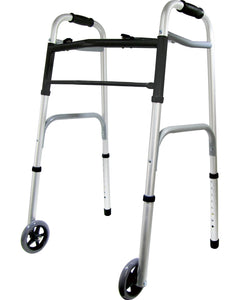 BodyHealt Compact Lightweight 2 Button Folding Walker - 5 Inch Wheels, Adjustable Height, No Assembly Needed