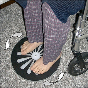 "BodyHealt 18"" Transfer Pivot Disc with Handle - 360 Degree Mobility Wheelchair Aid System - for Independent and Dependent Patient Transfers - Non-Slip Surface On Top and Bottom - 400 lb. Capacity"