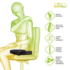 BodyHealt Coccyx Seat Cushion - Posture Support Memory Foam - Contoured with Removable & Washable Cover - Back Support Tailbone, Sciatica, Hemorrhoids, Coccyx and Lower Back Pain Relief