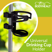 Load image into Gallery viewer, Universal Drinking Cup Holder No Screws Required Adjustable for Any Kind of Strollers, Walkers, Bicycles, Wheelchairs, Bed railings and Even on a Drumset | Drink Walker Cup Holder, Bottle Holder