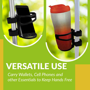 Universal Drinking Cup Holder No Screws Required Adjustable for Any Kind of Strollers, Walkers, Bicycles, Wheelchairs, Bed railings and Even on a Drumset | Drink Walker Cup Holder, Bottle Holder