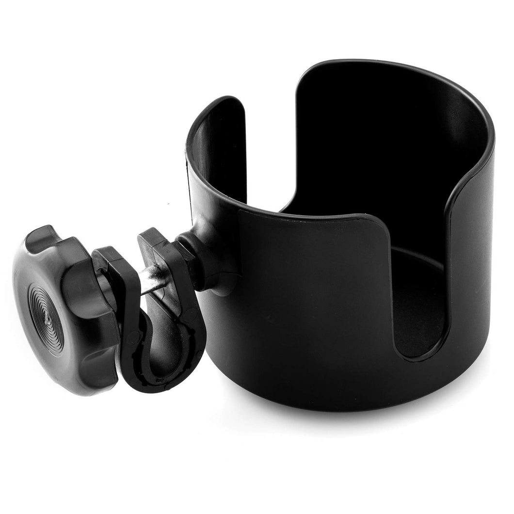 BodyHealt Adjustable Cup Holder - Black - for Any Kind of Strollers, Walkers, Wheelchairs, Rollator & Knee Scooters Universal Drinking Cup Holder, Bottle Holder, No Screws Required