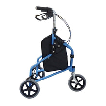 Load image into Gallery viewer, 3 Wheel Rollator Walker with Ergonomic Hand Grips, Locking Brakes, Adjustable Handle Height, Lightweight Aluminum Frame - Blue - by Bodyhealt