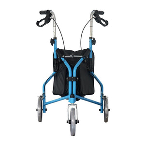 3 Wheel Rollator Walker with Ergonomic Hand Grips, Locking Brakes, Adjustable Handle Height, Lightweight Aluminum Frame - Blue - by Bodyhealt