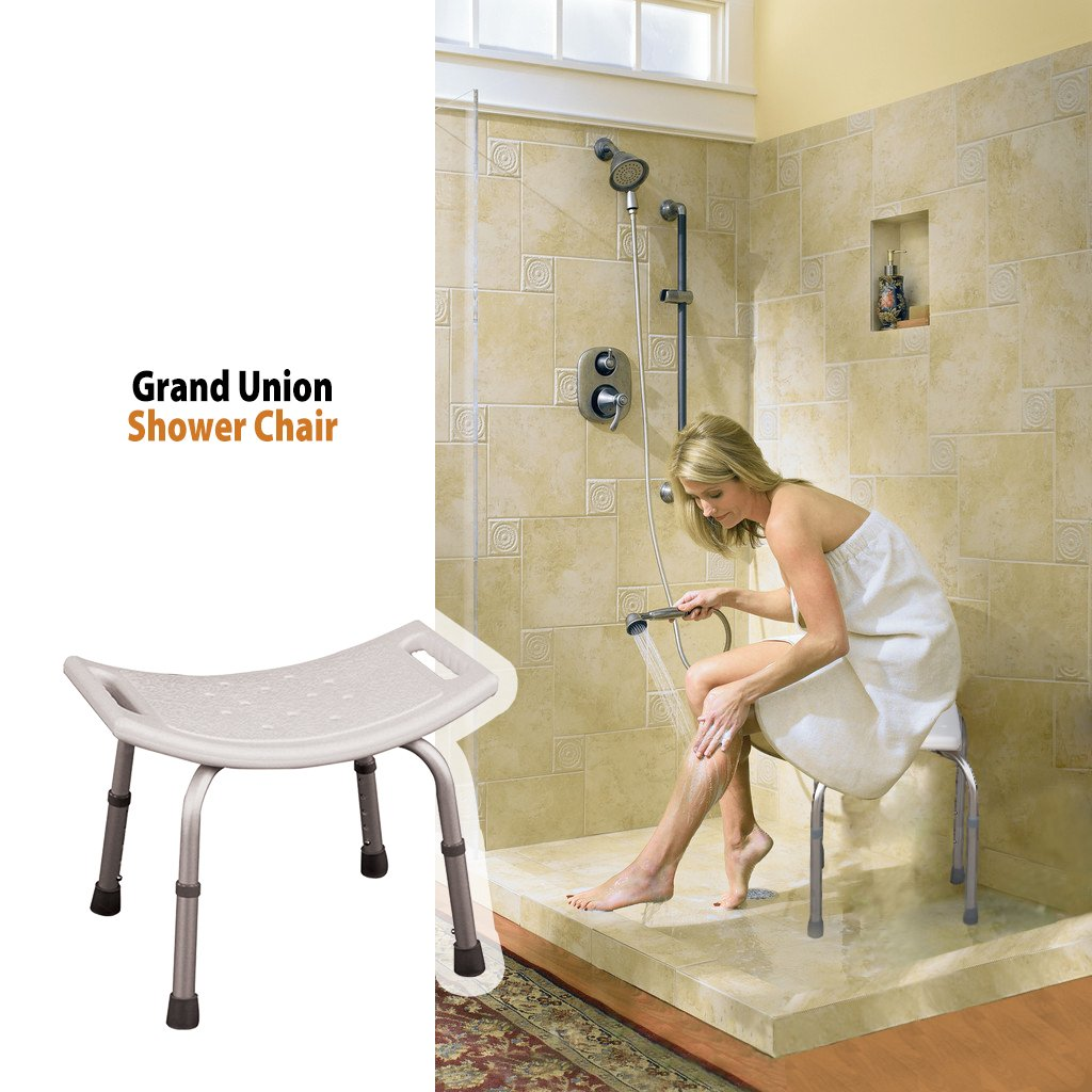 Aluminum Bath Bench - Shower Chair with Handle - Stool Safety Seat by BodyHealt (Without Back) No Tolls Required