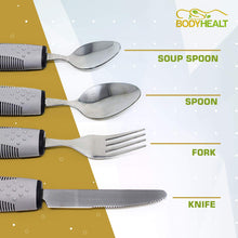 Load image into Gallery viewer, BodyHealt 4 Piece Adaptive Utensil Set - 1.5 in Ribbed Rubber Handles - Latex Free - Arthritis Aid Silverware Set for Parkinsons - Easy Grip for Shaking, Elderly & Trembling Hands