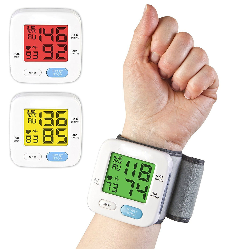 BodyHealt Wrist Blood Pressure Cuff Monitor - Fully Automatic - Color Changing - 2