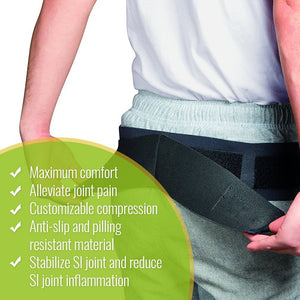 "Bodyhealt Comfortable Sacroiliac Joint Support Belt - Slimline Design - for Low Back and Pelvic Pain Relief - Hypoallergenic and Breathable Maternity (XX-Large (Hips 52"" to 58""))"