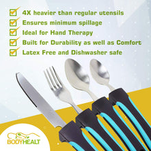 Load image into Gallery viewer, BodyHealt 4pcs Easy Grip Utensils Set | Weighted Flatware for Elderly, Arthritis, Handicap, or Hand Tremor | Parkinson Utensils with Thick Non-Slip Handles for Shaking Hands | Weighted Utensil Set
