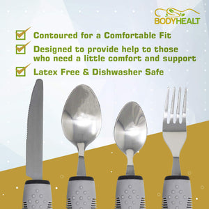 BodyHealt 4 Piece Adaptive Utensil Set - 1.5 in Ribbed Rubber Handles - Latex Free - Arthritis Aid Silverware Set for Parkinsons - Easy Grip for Shaking, Elderly & Trembling Hands