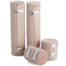 Load image into Gallery viewer, BodyHealt High Elastic Bandage Wrap, Woven Elastic Compression Rolls with Fastening Clips, Set of 4 (Includes 2 4 inch Rolls and 2 3 inch Rolls) Stretches up to 8ft (Actual Length - 4ft 4in)