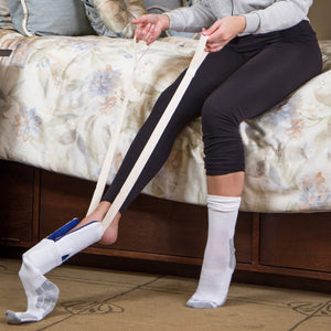 Sock Aid and Stocking Assist | Flexible Plastic W/Terry Covered Non-Slip Resistance Surface | Easy Putting Up and Removing Socks or Compression Stocking | Easy Putting On Stocking Donner