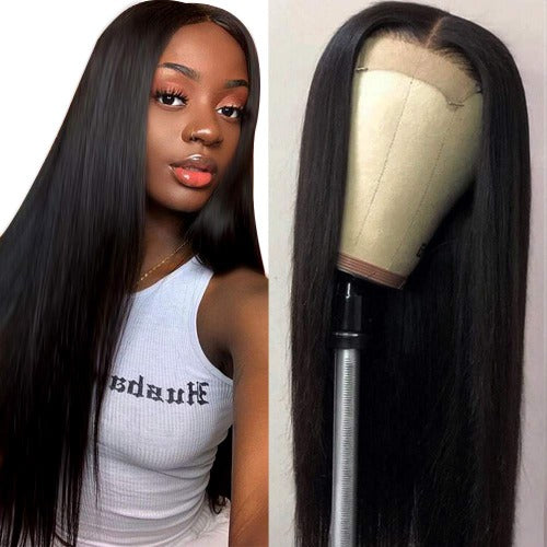 Long Straight 4x4 Lace Closure Wigs with Elastic Band - Estelle Wig