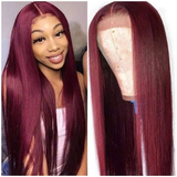 Burgundy 99J Color Lace Frontal Wig Straight