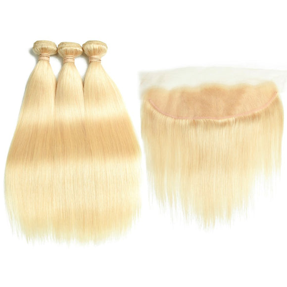 613 Blonde Human Hair Bundles with Frontal 7A Brazilian Straight Hair 3 Bundles with Frontal Closure 100% Virgin Human Hair Weave with 13x4 Lace Frontal - Estelle Wig