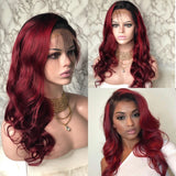 Burgundy Body Wave Lace Front Hair 150% Density by Estelle Wig - Estelle Wig