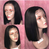 Estelle Wig Lace Closure Wig Human Hair 4x4 Short Bob Straight Hair Pre-Plucked Hair Line 150% Density for Black Women with Baby Hair - Estelle Wig