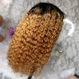 Honey Blonde Ombre 1b/27 13x4 Transparent Lace Front Wigs Wet and wavy
