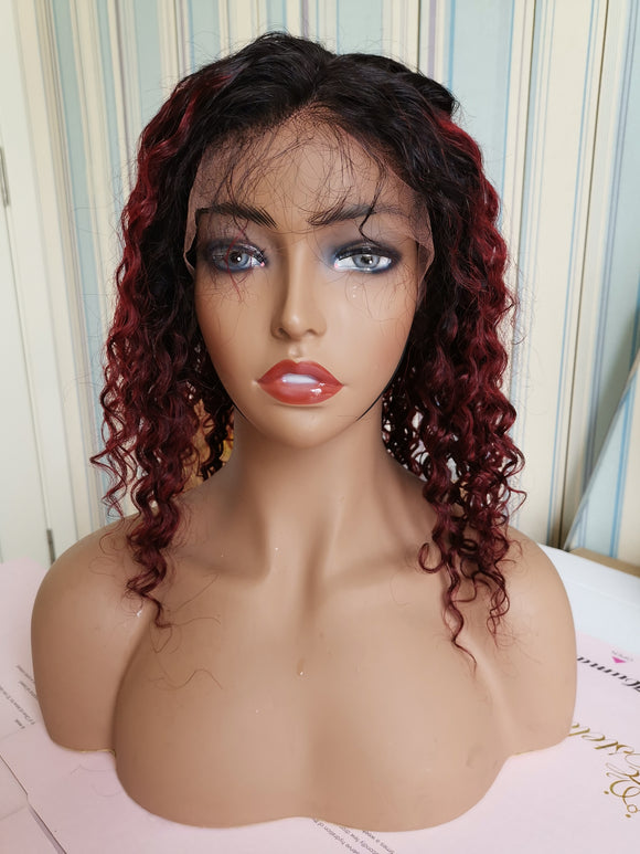 Back to school sale 13x6 Burgundy Bob curly wig Human Hair Wigs Glueless Lace Front Hair 150% Density Pre Plucked Hair for Black Women by Estelle Wig - Estelle Wig
