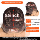 Orange Color T Part Transparent Lace Front Wigs Human Hair