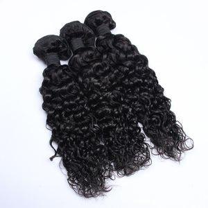 3 Bundles Deep Curl Hair with 13x4 Lace Frontal a Lot - Estelle Wig