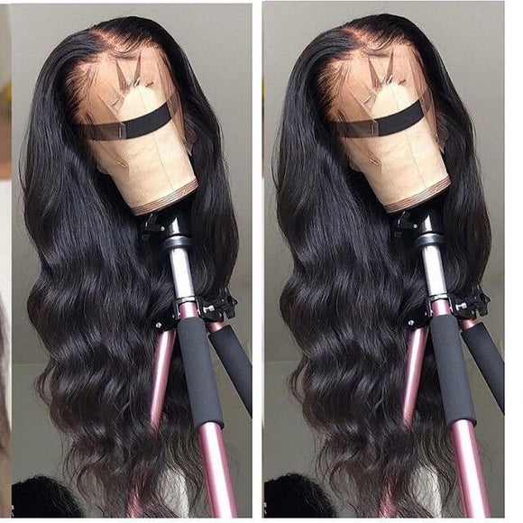 Fake Scalp Wig 13x6 HD  Lace Front Wavy Human Hair Wigs Natural Black Color Pre Plucked Hair Line 150% Density Natural looking Body wave Bleached knotsEstelle Wig - Estelle Wig