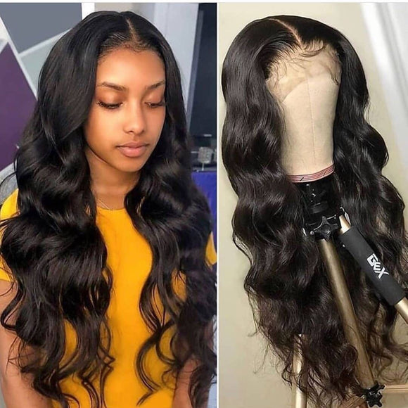 Olivia HD Lace with Invisible knots 13x6 Lace Front wig body wave undetectable lace Human Hair Wigs Natural Black Color Pre Plucked Hair Line 150% Density with Baby Hair Estelle Wig - Estelle Wig