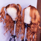 Ginger orange Color Lace Frontal Wig Wavy